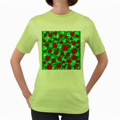 Xmas flowers Women s Green T-Shirt