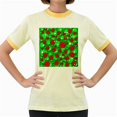 Xmas flowers Women s Fitted Ringer T-Shirts