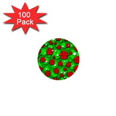 Xmas flowers 1  Mini Buttons (100 pack)