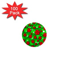 Xmas flowers 1  Mini Magnets (100 pack)