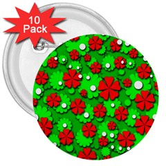 Xmas flowers 3  Buttons (10 pack)