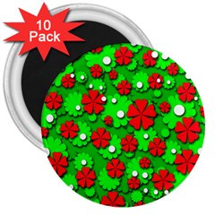 Xmas flowers 3  Magnets (10 pack)