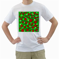 Xmas flowers Men s T-Shirt (White) (Two Sided)