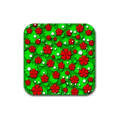 Xmas flowers Rubber Square Coaster (4 pack)