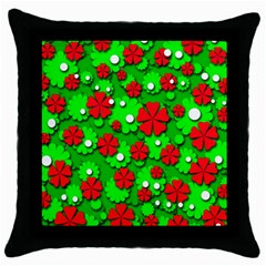 Xmas flowers Throw Pillow Case (Black)