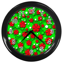 Xmas flowers Wall Clocks (Black)