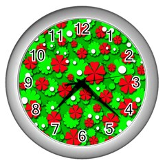 Xmas flowers Wall Clocks (Silver)