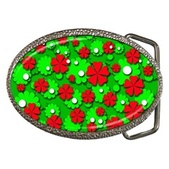 Xmas flowers Belt Buckles