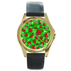 Xmas flowers Round Gold Metal Watch