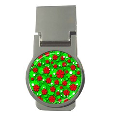 Xmas Flowers Money Clips (round)
