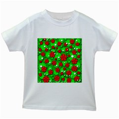 Xmas flowers Kids White T-Shirts