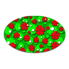 Xmas flowers Oval Magnet