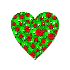 Xmas flowers Heart Magnet