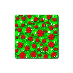 Xmas flowers Square Magnet