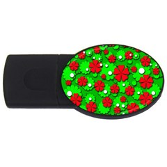 Xmas flowers USB Flash Drive Oval (2 GB)