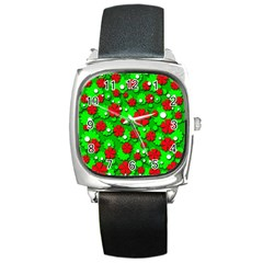 Xmas flowers Square Metal Watch