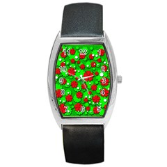 Xmas flowers Barrel Style Metal Watch
