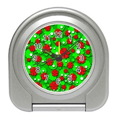 Xmas flowers Travel Alarm Clocks