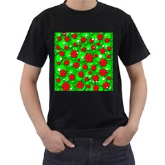 Xmas flowers Men s T-Shirt (Black) (Two Sided)