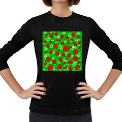 Xmas flowers Women s Long Sleeve Dark T-Shirts
