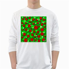 Xmas flowers White Long Sleeve T-Shirts