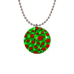 Xmas flowers Button Necklaces