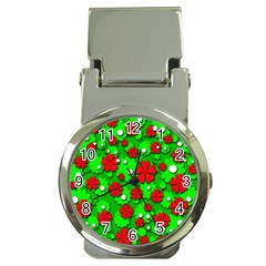 Xmas flowers Money Clip Watches