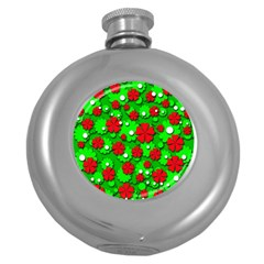 Xmas flowers Round Hip Flask (5 oz)