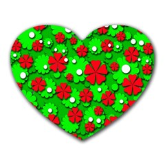 Xmas flowers Heart Mousepads