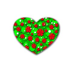 Xmas flowers Rubber Coaster (Heart)