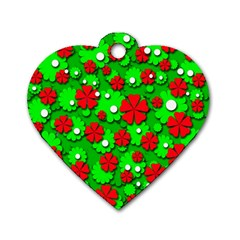 Xmas flowers Dog Tag Heart (Two Sides)