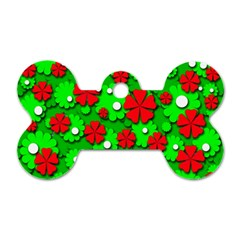 Xmas flowers Dog Tag Bone (Two Sides)
