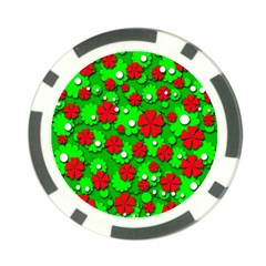Xmas flowers Poker Chip Card Guards