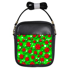 Xmas flowers Girls Sling Bags