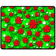 Xmas flowers Fleece Blanket (Medium)