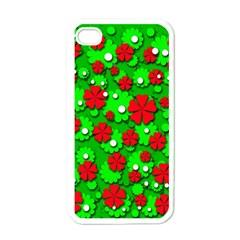 Xmas flowers Apple iPhone 4 Case (White)