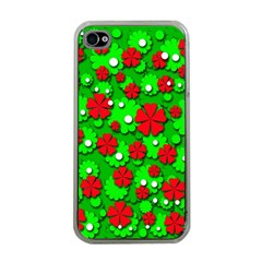 Xmas flowers Apple iPhone 4 Case (Clear)