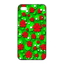 Xmas flowers Apple iPhone 4/4s Seamless Case (Black)