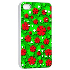 Xmas flowers Apple iPhone 4/4s Seamless Case (White)