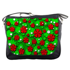 Xmas flowers Messenger Bags