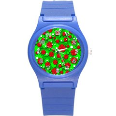 Xmas flowers Round Plastic Sport Watch (S)