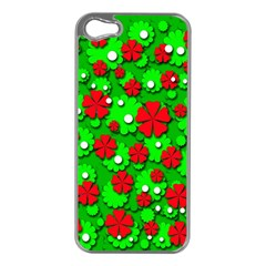 Xmas flowers Apple iPhone 5 Case (Silver)