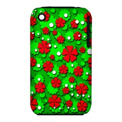 Xmas flowers Apple iPhone 3G/3GS Hardshell Case (PC+Silicone)