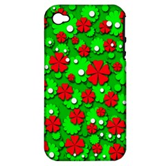 Xmas flowers Apple iPhone 4/4S Hardshell Case (PC+Silicone)