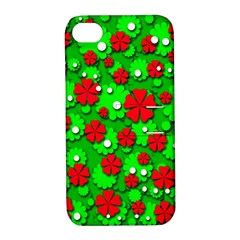 Xmas flowers Apple iPhone 4/4S Hardshell Case with Stand