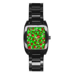 Xmas flowers Stainless Steel Barrel Watch