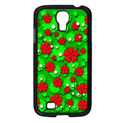 Xmas flowers Samsung Galaxy S4 I9500/ I9505 Case (Black)