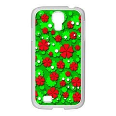 Xmas flowers Samsung GALAXY S4 I9500/ I9505 Case (White)