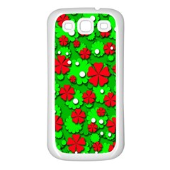 Xmas flowers Samsung Galaxy S3 Back Case (White)