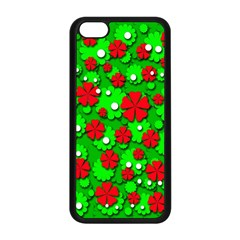 Xmas flowers Apple iPhone 5C Seamless Case (Black)